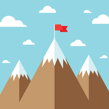 Mountain peak with flag as metaphor of businessman top performance, leadership achievement and success competition. Flat icon modern design style vector illustration concept. Çizim