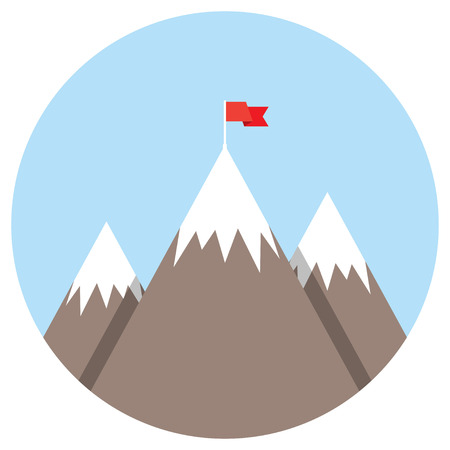 Mountain peak with flag as metaphor of businessman top performance, leadership achievement and success competition. Flat icon modern design style vector illustration concept. Illustration