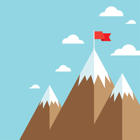 opportunity concept: Mountain peak with flag as metaphor of businessman top performance, leadership achievement and success competition. Flat icon modern design style vector illustration concept. Illustration