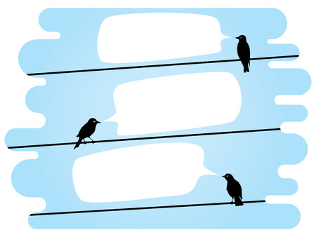 conversing: birds sitting on a wire and talk to each other