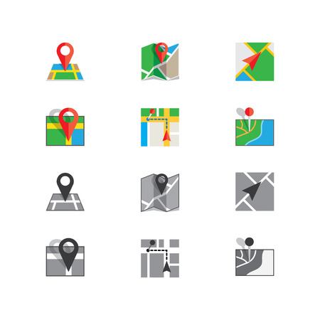 Set  flat icons for navigation and maps, there are grayscale version Illustration