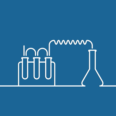retort: The concept of chemical science research lab retorts, beakers, flasks and other equipment. Biological and scientific tests. discovery new technologies