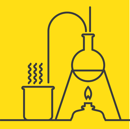 discovery: The concept of chemical science research lab retorts, beakers, flasks and other equipment. Biological and scientific tests. discovery new technologies