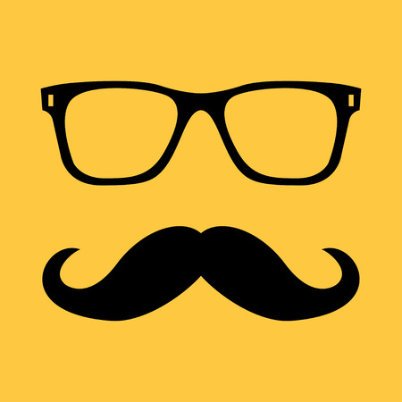 fashion sunglasses: Vector illustration Mustache and Glasses Icon Isolated