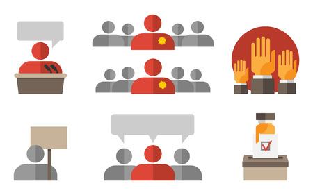 political rally: Выборы политическая и правительство процесс голосования значок плоским набор, изолированных векторные иллюстрации