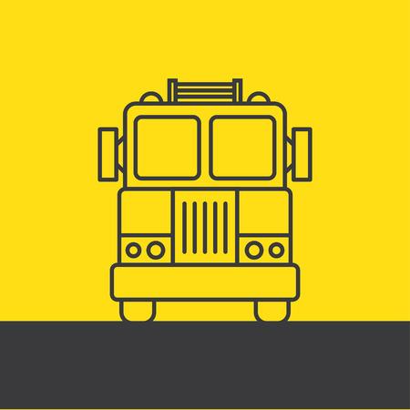 fire engine: Fire Engine - linea di fondo illustrazioni vettoriali Isolamento