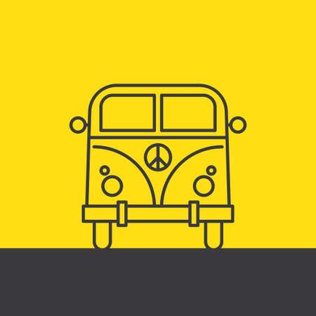 minivan: Vector pop art illustration. Minivan Hippie Silhouette Illustration