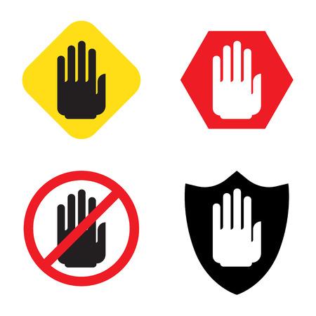 prohibit or set of warning signs. Vector illustration Ilustração