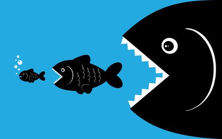 작은 물고기 벡터 배경에 육식 물고기 먹이