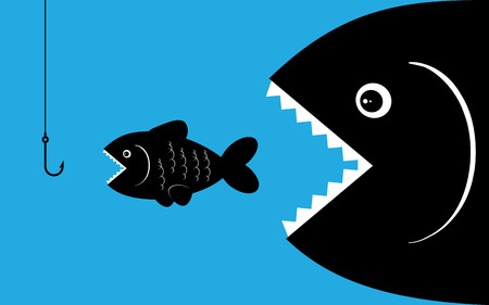small business: Big fish eat small fish, hookworm bait. Business concept - illustration