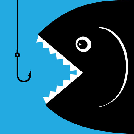 animal mouth: Hungry fish is going to swallow the bait on hook Illustration