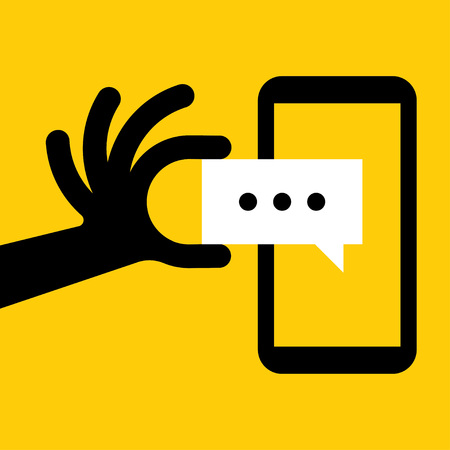 tweet: Hand holing smartphone with blank speech bubble for text