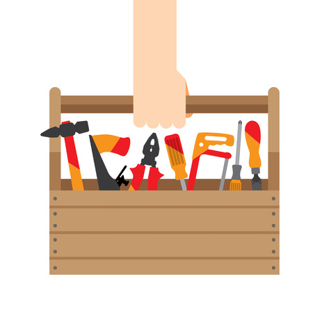 Carpenter carries in her hand box with tools