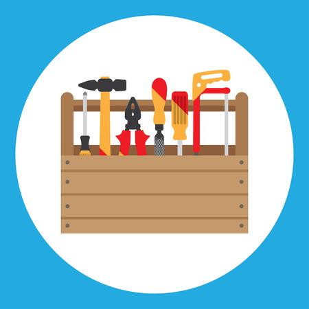 wood box: Tools icon isolated on white background,  flat design Illustration