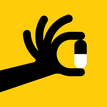 drug test: Flat style with long shadows, hand with pill vector icon illustration.