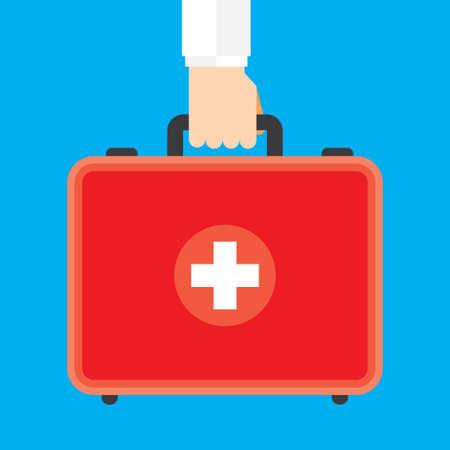 first aid kit: Ilustraci�n Caja de Auxilios Mano Que Sostiene Primera vectorial Vectores