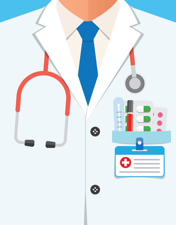 doctors tool: Close up of a doctors lab white coat and stethoscope. Vector illustration - stock vector