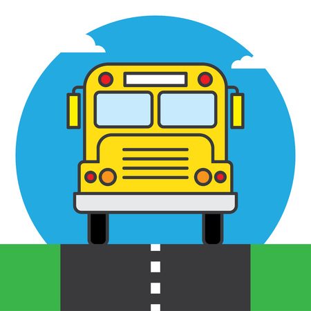 wagon: Back to school. School bus background vector illustration