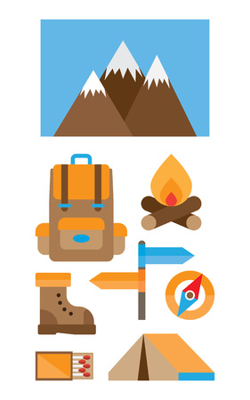 hiking trail: Mountain trekking, hiking, climbing and camping equipment. Object set. Hiking trail concept, flat style.