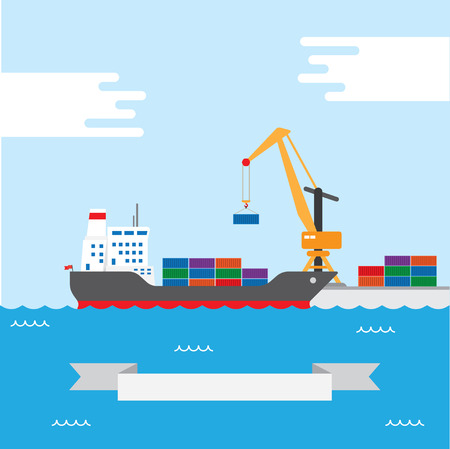 sea freight: Vector concept of river ocean and sea freight shipping by water