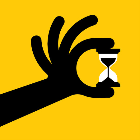 opportunity concept: human hand derzhet hourglass, isolated on blue background - time is money concept. Illustration