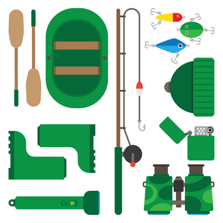 fishing pole: Boat fishing pole and all you need for fishing Illustration
