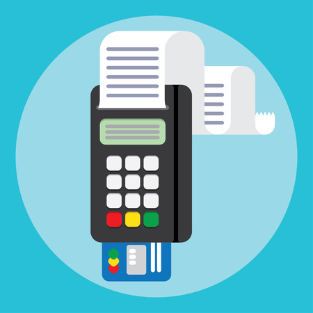 Illustration pos machine or credit card terminal. Concept of cashless payment and credit card payment. Credit card machine