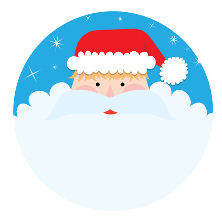 new year's cap: flat design santa claus face with happy and funny emotions - vector graphic design