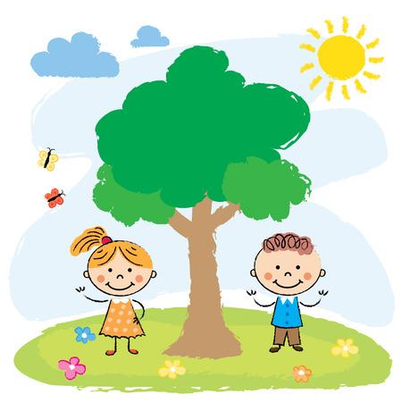 playmates: Ilustración de los dos niños adorables que juegan en la cima de una colina cerca del árbol