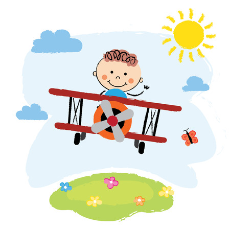 over the hill: Cartoon pilot boy on a airplane flying over green hill