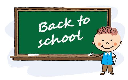school class: cartoon boy staying near classroom board. Back to school background.