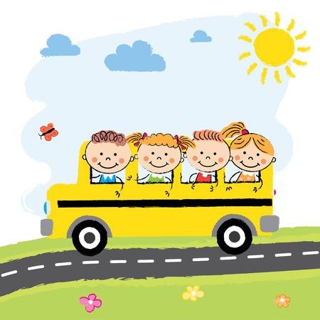 Edytowalna wektora ilustracja szczęśliwe dzieci na autobus szkolny Ilustracje wektorowe