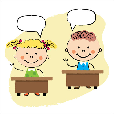 elementary age: vector illustration of kids in classroom asking questions