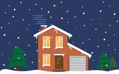suburban home: Winter - flat design urban landscape illustration, vector Illustration