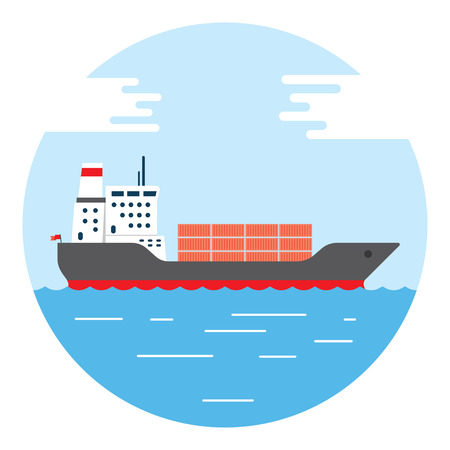 Cargo container ship transports containers at the blue ocean, vector illustration