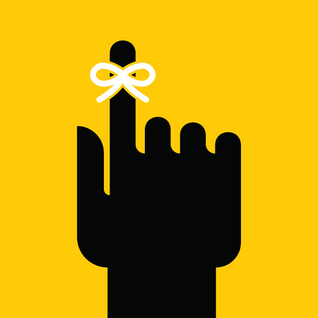 forgetful: Hand with string reminder symbol. Vector illustration