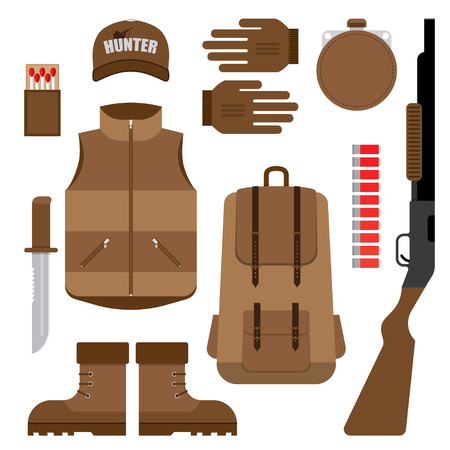 winchester: Flat modern design vector icons set of tools and equipment. Hunter, fisherman, hipster workspace