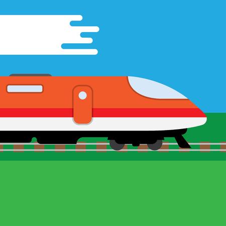 intercity: speed train. Flat style vector illustration, background Illustration