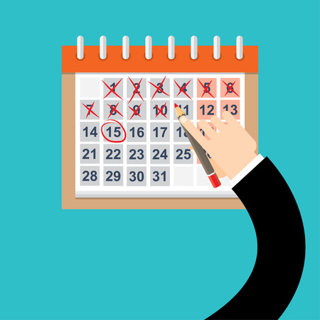 long weekend: Calendar Hand Draw Pen Red Circle Date Last Day Month Deadline Flat Vector Illustration