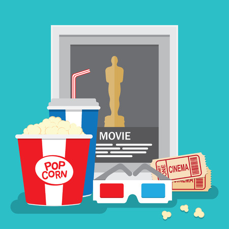 3d glasses: Cinema Background with reward movie, popcorn and tickets, 3D glasses