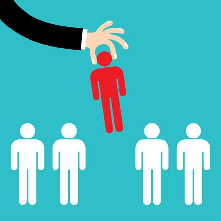 Geschäftsmann Hand Kommissionierung ausgewählten Mann aus einer Gruppe von Geschäftsleuten auf. Recruitment-Konzept. Flaches Design. - Vektorgrafik