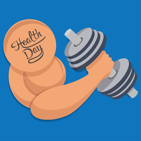 Hand of bodybuilder. Brawny arm with dumbbell isolated. Flat style. Vector  illustration.