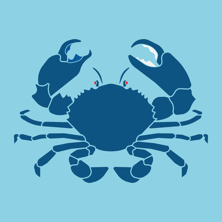blue crab: Lucky crab. Fresh seafood bar. Image crab on a blue background