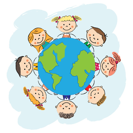 children with planet. Earth day. Recycle day.