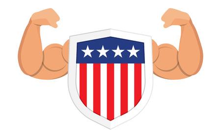 security symbol: Security shield with american flag, symbol icon,  illustration on a background of strong hands