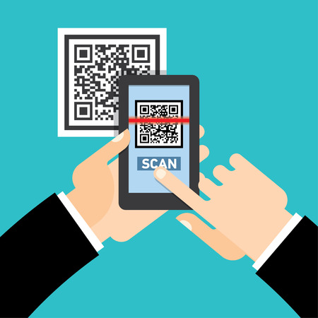 pda: Scan QR code  to Mobile Phone. Electronic scan, digital technology, bar code.