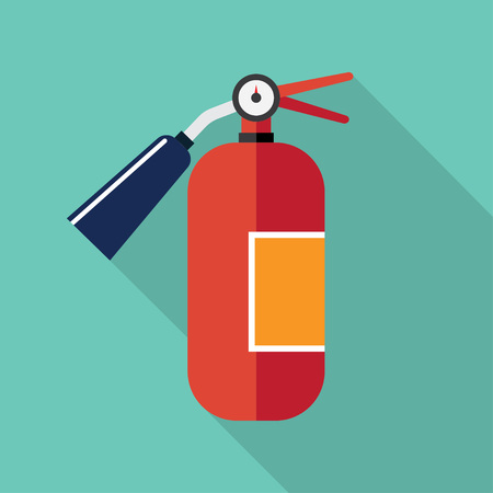 firealarm: red metal glossiness fire extinguisher vector illustration