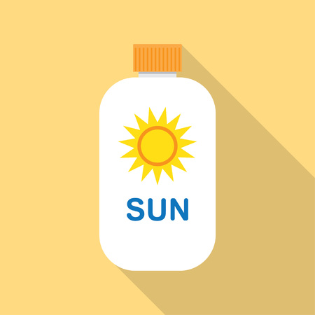 Sun Cream flat icon with long shadow Stock Vector - 55639042