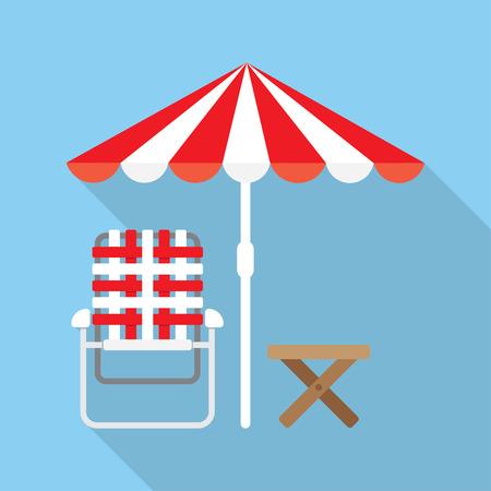 recliner: Beach Umbrella and Lounger Beach - Vector icon