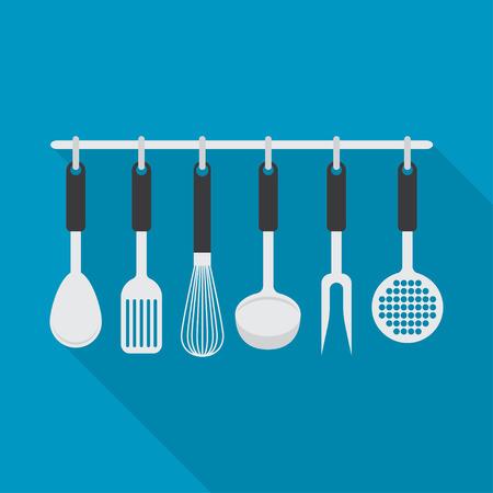 skimmer: set with different types of kitchen accessories. Kitchen theme.